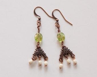 Vintage Antique Copper Earrings