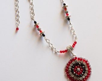 Red, Black & Silver Beaded Bracelet