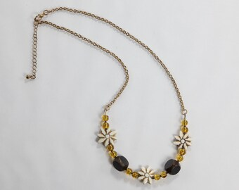 Dark Brown, Flower Carved Bone and Amber Colored Glass Necklace
