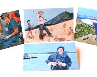 Set Of Four (4) Greeting Cards 5 x 7 in. Of Original Portrait And Landscape Paintings By Award-Winning Artist Ingrid Lockowandt