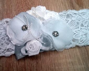 White baby Headband, Baptism Headband, Christening Headband, Newborn Headband, Flower Headband, Girls Headband