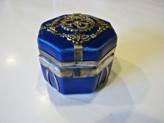 19th Century Chinese Porcelain Enameled and Silver Box ~ Trinket Box ~ Inside Box Is Painting ~ Two Children Playing