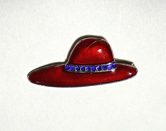 Five Dollar Price Reduction ~ ENAMEL BROOCH/PIN ~ Red Hat Society ~ Red Hat Brooch With Purple Rhinestones ~ Vintage