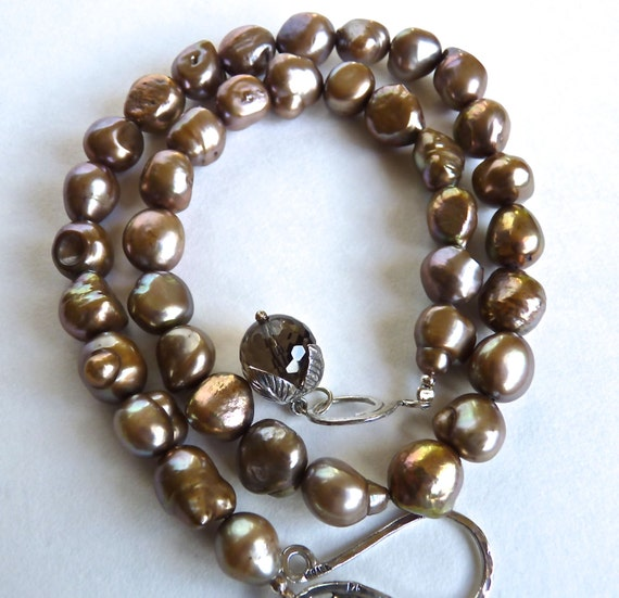 NECKLACE ~ BAROQUE PEARLS ~ Iridescent Chocolate Bronze Chocolate Pearls ~ Beautiful ~ Sterling Silver Hook Clasp With Swarovski Crystal