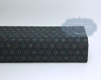 Japanese fabric Navy Blue Asanoha dotted
