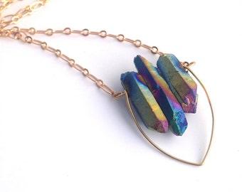 Titanium Quartz V Necklace