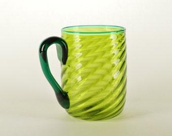 Hand Blown Glass Mug Green
