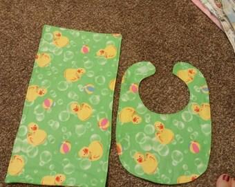 Duck bib and burp cloth set.