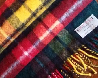 Scottish Tartan Lambswool Scarf James Pringle, Inverness, Green plaid with red and yellow , Made in Scotland,