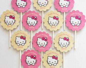 12 Personalized  double sided Hello Kitty Cupcake Toppers Birthday Party Favors