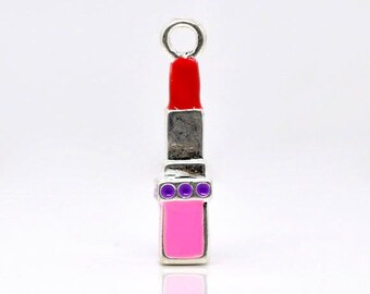 2 Red Lipstick Charms, 3D, Silver Plated Enamel (1P-60)