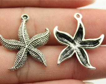 5 Starfish Charms, Antique Silver Tone (1F-251)