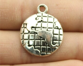 4 Globe Charms, Antique Silver Tone  (1A-135)