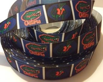 """Florida Gators inspired 7/8"""" Grosgrain Ribbon"""