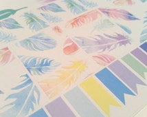 Stickers (handmade): pastel watercolor feathers planner/calendar boxes, flags