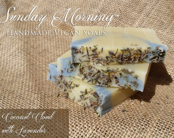 Coconut Cloud Fragrance Free Topped With Lavender Vegan Handmade Soap Coconut Milk