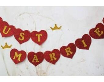 Just Married Handmade Glitter Bunting Banner ~ just married bunting ~ wedding decoration ~ just married sign ~ wedding banner ~ photo prop ~