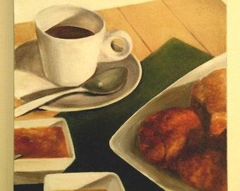 Coffee & Bread / cafe brunch unique original oil painting on canvas