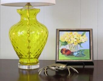 Vintage Lemon Yellow Blown Glass Lamp