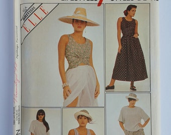 Style Pattern 1349 Misses Pullover,Top,Vest with Ties,Front-Wrap Skirt,Trousers and Shorts