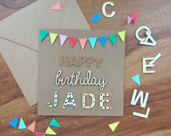 Personalized bunting birthday card