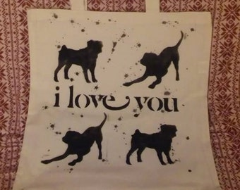 I love You Dogs Canvas Tote Bag