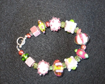 Lampwork Glass Bracelet in Pinks & Greens