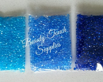1000pcs per bag of Torquoise, Light Blue, and Royal Blue Diamonds