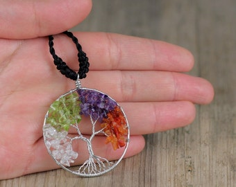 Four Seasons Tree of Life Necklace-Wire Wrapped Tree of Life,Four Seasons White Copper Pendant Necklace