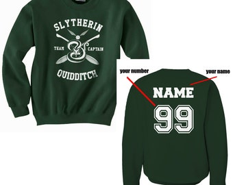 CAPTAIN - Custom back Slyth Quidditch team Captain WHITE print on Forest green Crew neck Sweatshirt