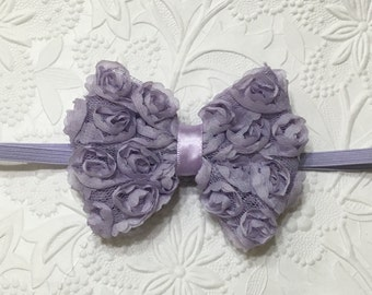 Icy Lavender Shabby Rose Bow Headband (HB-3), Shabby Rose Headband, Baby Girl Headband, Purple Headband