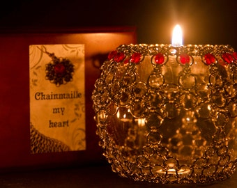 Wedding candel lamp / Chainmaille candelholder / steel&glass candelholder / Magic decoration for special moments