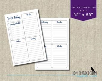 Fun Blue Printable Weekly Planner Half Page - Weekly Planner Sheet - Meny Planner - Grocery List Planner - Task Planner