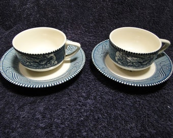 Currier Ives Royal China Blue and White Coffee Tea Cup Saucer Set TWO MINT