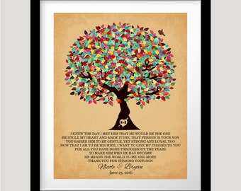 Mother of Groom Gift From Bride I Knew The Day Oak Colorful Fruit Tree Wedding Poem Thank You Art Print Choose Paper Canvas or Tin Sign 1203