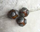 Tibetan Amber Copal Resin Beads with Tibetan Silver Caps