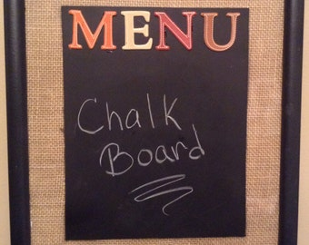 Burlap Chalkboard Menu Board (with chalk and eraser)