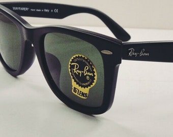 Vintage Ray-Ban Black Wayfarer Matte Black 2041 Sunglasses