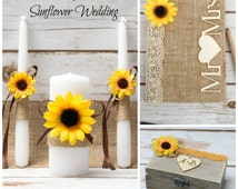 Sunflower Wedding Set Guest Book Unity Candle Set Ring Box Bearer Sunflower Rustic Wedding Burlap wedding Set