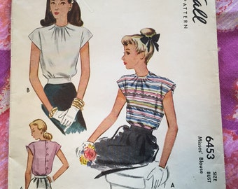 Vintage McCall 6453 Blouse Sewing Pattern