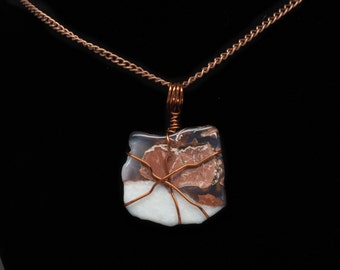 Copper Wire Wrapped Jasper Reiki Infused Pendant with chain
