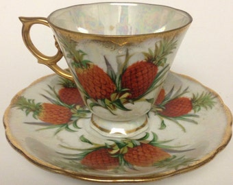 Vintage November Pineapple Tropical  Tea Cup and Saucer by Ucagco made in Japan