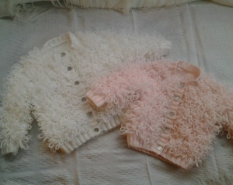 Hand knitted Baby Loopy Cardigans (made to order)