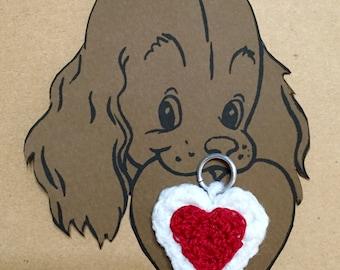 Dog Collar Heart Charm#1, Crochet Dog Charm, Pet Charm Heart, Kitty Collar Charm