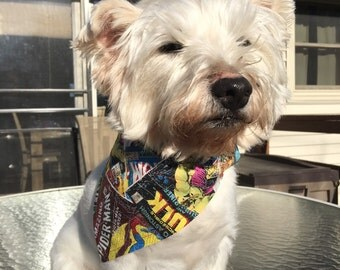 Small Comic book Superheroes Dog Bandana