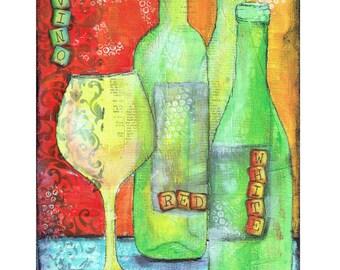 """Mixed  Media, Fine Art Print, """"Vino"""""""