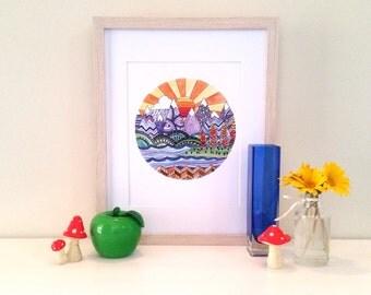 70's Zentangle Sunshine Watercolour Print (8x10inch), home decor, wall art, mountains, scene art print, seventies