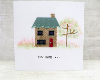 New Home Card, Fabric House Card, good luck new house card, congratulations, handmade moving home card, house art, home keepsake.
