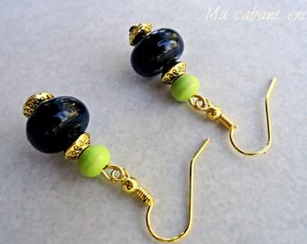 Ethnic earrings, earrings, green earrings, black and gold earrings