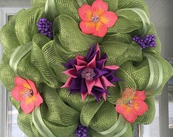 Green floral deco mesh wreath